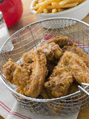 Southern Fried Chicken in a Basket with Fries — Stock Photo