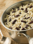 Rice and Beans in a Saucepan — Stock Photo