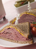 Pastrami on Rye Bread with Mustard — Stock Photo