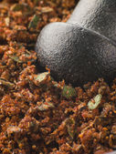 Cajun Spice Rub in a Pestle and Mortar — Stock Photo