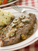 Steak Sirloin with Diane Sauce and Mash Potato — Photo