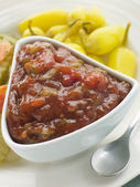 Pot of Burger Relish with Pickled Californian Chillies — Stock Photo