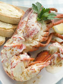 Lobster Newburg with Toast and Lemon — Stockfoto