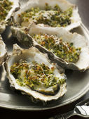 Platter of Oysters Rockefeller — Stock Photo