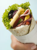 Open Deli Tortilla Wrap in a Napkin — Stock Photo