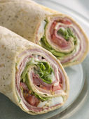 Deli Tortilla Wrap Cut in Half — Stock Photo