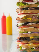Dagwood Tower Sandwich With Sauces — Stock Photo