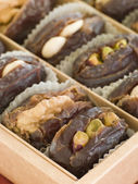 Box of Stuffed Dates — Stock Photo