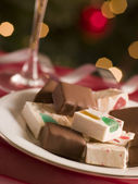 Plate of Chocolate Dipped and Plain Nougat — Stock Photo