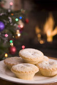 Plate of Mince Pies Log Fire and Christmas Tree — Stock Photo