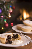Mince Pie with Brandy Cream — Stock Photo
