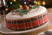 Decorated Christmas Fruit Cake — Stock Photo