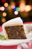 Fatia de bolo de natal — Foto Stock