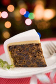 Wedge of Christmas Cake — Stock Photo