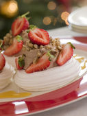 Meringue Nests filled with a Sweet Chestnut Cream and Strawberri — Stock Photo