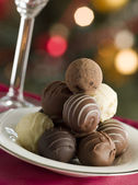 Plate of Chocolate Truffles — Stock Photo