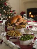 Roast Turkey Christmas Spread — Stock Photo