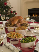 Roast Turkey Christmas Dinner — Stock Photo