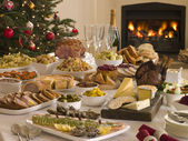 Boxing Day Buffet Lunch Christmas Tree and Log Fire — Zdjęcie stockowe