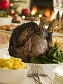 Rib of British Beef Boxing Day Buffet — Stock Photo