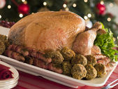 Traditional Roast Turkey with Trimmings — Stock Photo