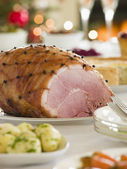 Honey Roasted Ham Boxing Day Buffet — Stock Photo