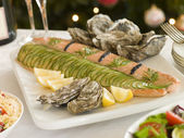 Dressed Side of Salmon Boxing Day Buffet — Stock Photo