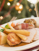 Traditional Roast Turkey with trimmings Plated — Stock Photo