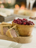 Pork Turkey and Stuffing Pie Cranberry and Game Pie — Stock Photo