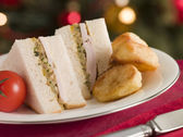 Roast Turkey Stuffing and Mayonnaise Sandwich with Cold Roast Po — Stock Photo