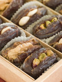 Dates stuffed with Nuts and Marzipan — Stock Photo