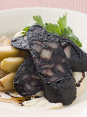 Boudin Noir Caramelised Apples and Pomme Puree with Balsamic — Stock Photo
