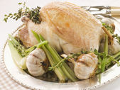 40 Clove of Garlic Roasted Chicken with Baby Spring Vegetables — Stock Photo