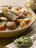 Bowl of Toulouse Sausage and Butter Bean Ragout with Persillade — Stock Photo