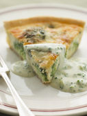 Broccoli and Roquefort Quiche with Broccoli sauce — Stock Photo