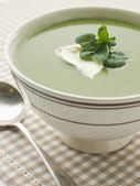 Bowl of Watercress Soup with Cr me Fraiche — Stock Photo