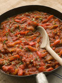 Piperade in a Saut Pan — Stock Photo