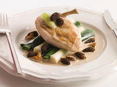 Breast of Chicken with Morels Baby Leeks and Madeira Cream — Stock Photo
