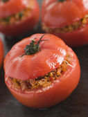 Stuffed Beef Tomato on a Baking Sheet — Stock Photo