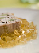 Foie Gras and Baby Leeks with Sauternes Jelly — Stock Photo