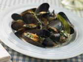 Plate of Moules Mariniere — Stock Photo