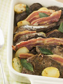 Calves Liver Bacon and Saute potatoes — Stock Photo