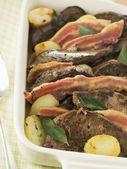 Calves Liver Bacon and Saute potatoes — Stock Photo