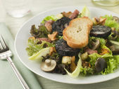 Salad Maison - Boudin Noir Bacon and Mushrooms — Stock Photo