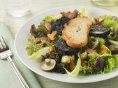Salad Maison - Boudin Noir Bacon and Mushrooms — Stock Photo