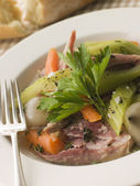Pot au Feu with Crusty Bread — Stock Photo