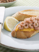 Rouille and Brown Shrimps on Toasted Baguette — Stock Photo