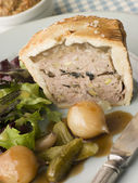 Pork Black Truffle and Pistachio Pie with Glazed Button Onions a — Stock Photo