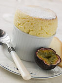 Hot Passion Fruit Souffle with Langue de Chat Biscuits — Stock Photo