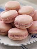 Plate of Raspberry Macaroons — Stock Photo